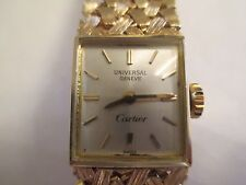 "Vintage CARTIER by Universal Geneve 14K Gold Watch  15 MM Wide  6 5/8""  Wind-Up"