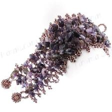 "2"" WIDE MIXED AMETHYST GEM CHIPS GLASS SEED BEADS HANDMADE bracelet"