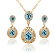 Blue Crystal Rhinestone Gold Plated Necklace Earring Set Wedding Jewelry Sets