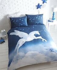 UNICORN DOUBLE BED DUVET COVER SET  NAVY BLUE CLOUDS MAGICAL PANEL BEDDING