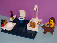 LEGO Custom Tile Bathroom Sink Toilet Bathtub Shower WC Dog Bath (No Minifigure)