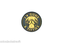 I Love Guns Bronze PVC Airsoft Paintball Patch