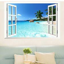 Beach Resort 3D Window View Removable Wall Sticker Art Vinyl Decal Decor Mural