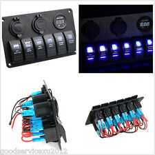12V 20A Autos Boat Circuit Blue LED 6 Gang Rocker Switch Panel Voltage Meter Kit