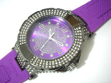 Iced Out Bling Bling Big Case Rubber Band Techno King Men's Watch Purple # 2263