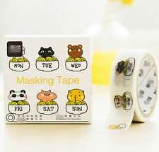Funny Animals Theme Masking Washi Tape diary Sticky DIY Adhesive Sticker