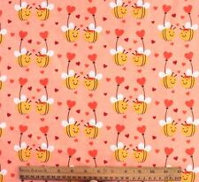 SNUGGLE FLANNEL* BEES IN LOVE on SOFT PEACH* HEARTS Cotton Fabric* NEW *BTY
