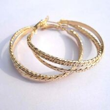 MEDIUM GOLD PLATED DESIGN TRIPLE HOOP EARRINGS 40MM HYPOALLERGENIC LADIES GLH8
