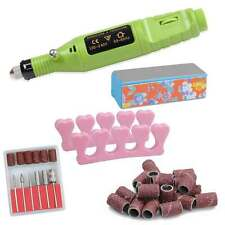 Nail Art Drill Kit Electric FILE Buffer Bit Acrylic Portable Salon Machine Green