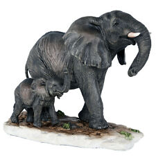 "Africa Collectible Elephant With Baby Statue Animal Decor Figurine Wild 9 1/4"" L"