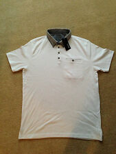 Mens White Coller T,Shirt With Buttons By George Asda New With Tags