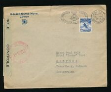 SWITZERLAND 1946 CENSORED DOLDER GRAND HOTEL ZURICH ENVELOPE