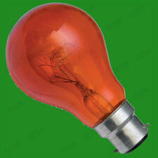 2x 60W Red Fireglow GLS LIGHT BULBS, For flame Effect Electric Fires, BC, B22