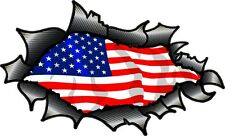 Carbon Fibre Fiber Ripped Torn Metal & American Stars & Stripes Flag car sticker