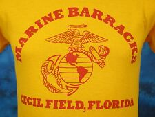 vintage 80s USMC MARINE BARRACKS CECIL FIELD FLORIDA T-Shirt XS us corps thin