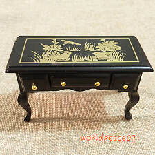Dollhouse Miniature Black Retro Paint Desk Table With Drawer 1:12 Scale Model