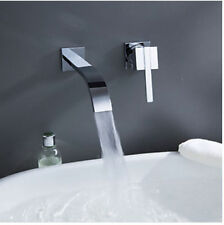 Wall Mounted Waterfall Bathroom Basin Faucet Single Handle Sink Mixer Tap Chrome
