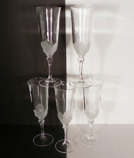 Cristal d' Arques Florence Crystal Fluted Champagne Goblets LOT of 5 Frosted