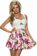 Abito ricamato gonna top nudo Stampa Fiocco scollo Blooming Flower Skater Dress