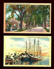 L76 Cape Cod, 2 Pcs. Painting on Wharf & Typical Street in Village, Unused Linen