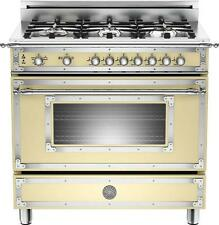 "Bertazzoni HER366GASCR 36"" Traditional-Style Gas Range Cream, Natural Gas"