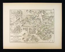 1855 Alison Military Map - Napoleon Battle of Heilsberg 1807 - Prussia Poland