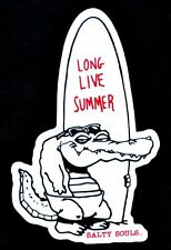 Salty Souls Gator with Surfboard Sticker Decal Salt Beach Surfing Fishing Life