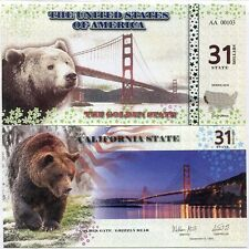 UNITED STATES USA 31 STATE DOLLARS 2016 CALIFORNIA GOLDEN STATE GRIZZLY BEAR UNC