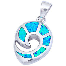 "Blue Fire Opal Fashiojn .925 Sterling Silver Pendant 1"" long"
