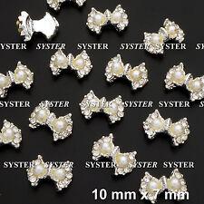 10 Pcs Alloy Jewelry Pearl 3D DIY Rhinestone Nail Art Glitters Slices #SJ-327D