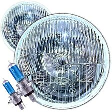 "Classic Land Rover Domed 7"" Xenon Halogen Conversion Headlights Lamps Non Pilot"