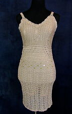Sebo Paris Nude Sequin Crochet Gatsby Flapper Dress 1920's Costume Tan Small