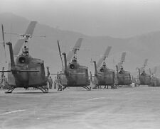 """Huey Helicopters waiting to go into action 8""""x 10"""" Vietnam War Photo 231"""