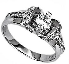 STERLING SILVER Rhodium Plated Fashion RING - Crown Accent & Round CZ - size 8 -