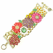 BETSEY JOHNSON 'Garden Party' Flower Charm Wide Toggle Bracelet
