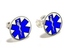 Star of Life Novelty Silver Plated Stud Earrings