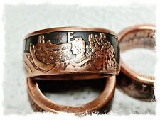 """""""Walking liberty"""" 1 Oz Handcrafted .999 Pure Copper Coin Ring Size 10-16"""