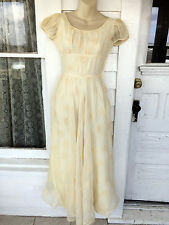 Vintage 40s Floral Flocked Cream colored Dress & Slip XS/S TLC Study Piece