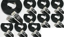 5 LOT 25ft Flat CAT'6 Network LAN Cable BLACK Molded Snagless Patch ethernet