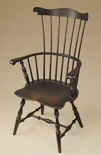 Fan-Back Windsor Armchair - Dining Room Chair - Black - Colonial Style Furniture