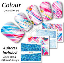 4x Full Cover Nail Art Water Stickers Wraps Transfers Paint Marble Glass Z133