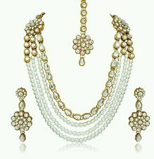 Traditional Indian Bridal Wedding Pearl Kundal Necklace Earrings Tikka Jewellery