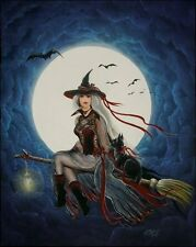 Folk Art Halloween WiTcH Cat Flying Across Full Moon Moon Watcher Byrum Print