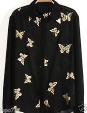 WOMENS GLITTER BUTTERFLY PRINTS BLACK SHIRT TOP BLOUSE NEW BUST SIZE 39""