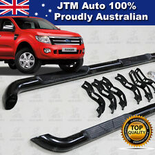 Ford Ranger T6 PX Dual Cab Running Boards Black Steel Side Steps 2011-2014
