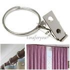 10pcs Movable Stainless Steel Shower Hanging Curtain Rod Clip Rings Drapery Clip