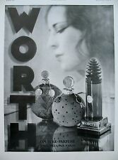 PUBLICITE DE PRESSE WORTH PARFUM COUTURE FLACONS FRENCH AD 1931