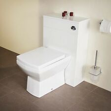White Modern Back To Wall Bathroom Vanity Unit & Toilet Set With Soft Close Seat