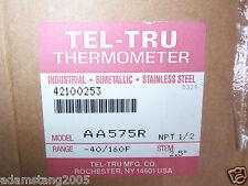 """New Tel-Tru Thermometer AA575R 1/2 NPT -40/160F Stem 2.5"""""""