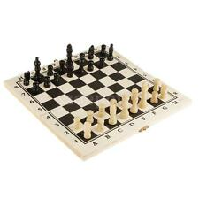 Folding King's International Chess and Draughts Wooden Chessboard Game Set